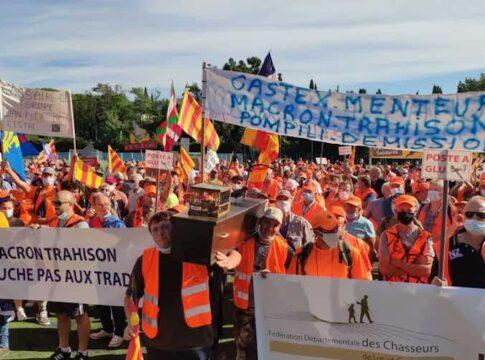 Franske jægere i demonstration